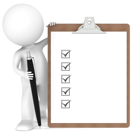 Zeichen: 3D kleinen menschlichen Charakter mit einem Klemmbrett mit Checkliste und einen Stift. Schwarze Farbe