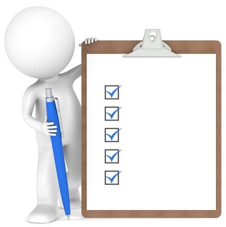 3D kleine menselijke karakter met een klembord met checklist en een pen. Blauwe kleur Stockfoto