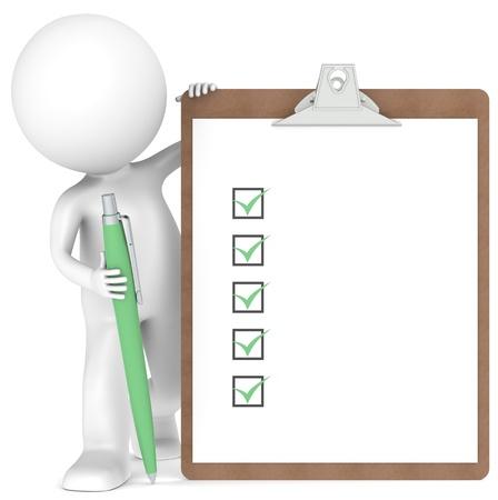 elenchi: 3D po 'di carattere umano in possesso di un Appunti con Checklist e una penna. Colore verde Archivio Fotografico