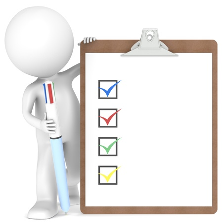 3d human: 3D little human character holding a Clipboard with Checklist and a MultiColor Pen. Stock Photo