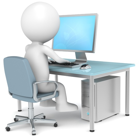 workstations: 3D little human character Searching on Internet. Blue Desktop. Business People series. Stock Photo