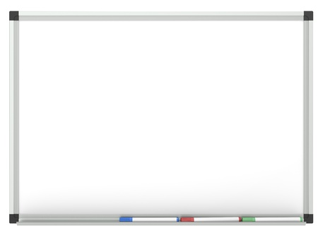 Blank Whiteboard with 3x marker pen, for copy space.  Isolated photo
