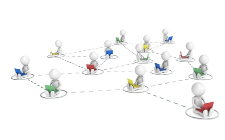 3D little human characters X14 Networking. Chrome. Stock Photo - 10917511