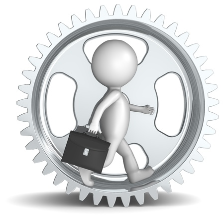 3D little human character The Business man in a Cog Wheel. Metal Stock Photo - 10917550