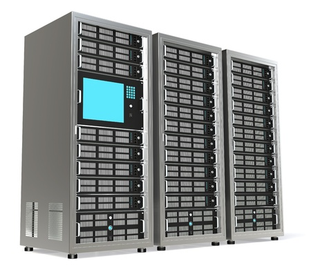 servers: 3 Server Racks. One with a Monitor mounted. Stock Photo