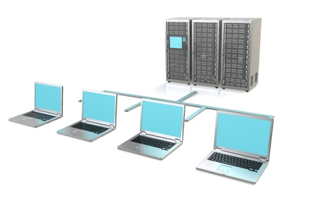 3 Server Racks and Laptops photo