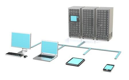 toegangscontrole: 3 Server Racks, Workstation, Laptop, touchpad en smart phone Stockfoto