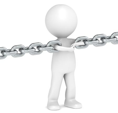 cadenas: 3D poco car�cter humano que une una cadena. Serie de la gente.