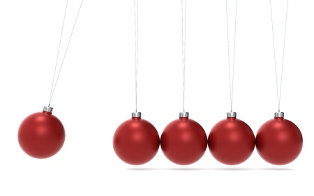 isaac newton: Newtons cradle Christmas Edition. Green and Red balls. Side View