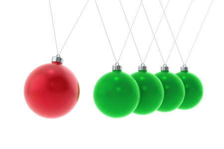 Newtons cradle Christmas Edition. Perspective view photo