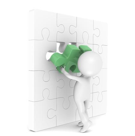individui: 3d piccolo personaggio umano con un Mettere l'ultimo pezzo di un puzzle. Green. Archivio Fotografico