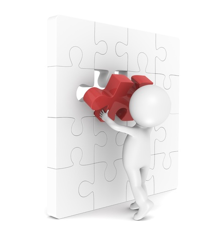 3d little human character with a Placing the last Piece of a Jigsaw Puzzle. Red. Stock Photo - 11142557