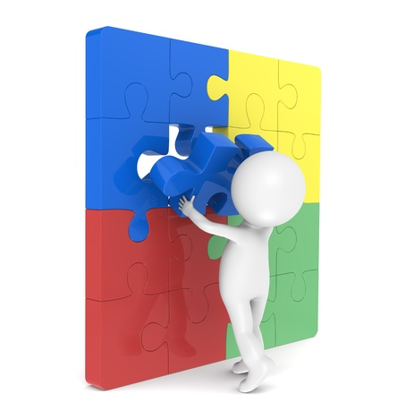 3d little human character with a Placing the last Piece of a Jigsaw Puzzle. Red, Green,Yellow and Red photo