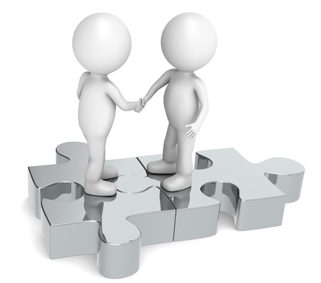 3d human: 3d little human character X2 shaking hands on a Jigsaw Puzzle. Metal. Stock Photo