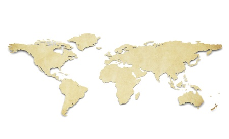 A World Map in 3D. Paper Shape, thin and Antique style. Stock Photo - 11142567
