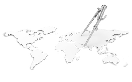 A World Map in 3D. Paper Shape, thin. Divider and Pencil Compass Stock Photo - 11142566