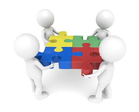 jigsaws: 3d poco umana carattere X4, il team, ognuno in possesso di un pezzo.