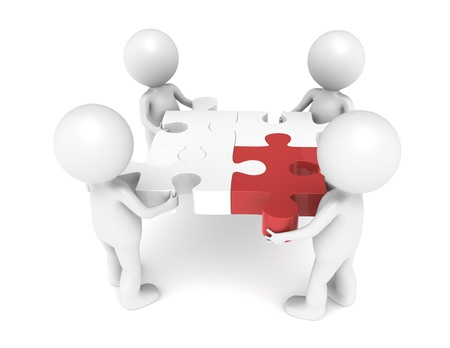 3d little human character X4, The Team, each one holding a piece of the jigsaw puzzle. Red. Stock Photo - 11142569