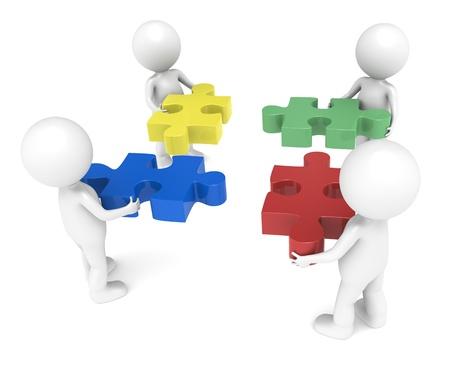 decision making: 3d little human character X4, The Team, each one holding a piece.