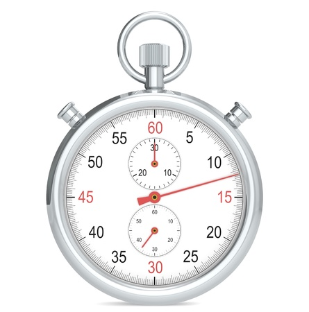 Stopwatch. Chrome, front view and red hands.
