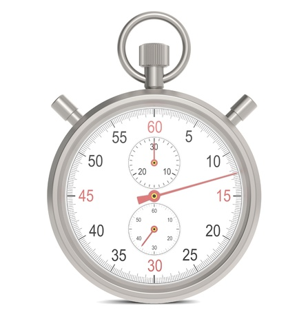 Stopwatch. Classic stopwatch with 3 dials and Red hands.