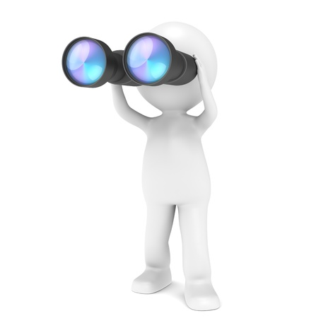 3D little human character with a pair of Binoculars. People series. photo