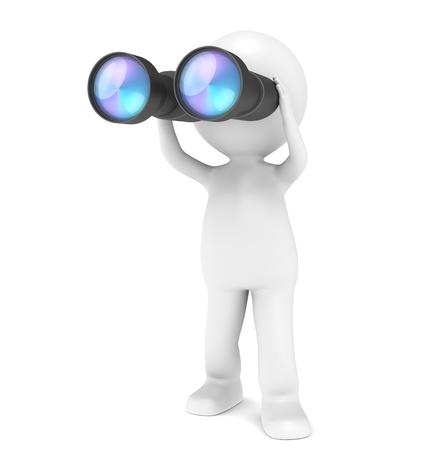 3D poco carácter humano con un par de prismáticos. Serie de la gente. Foto de archivo