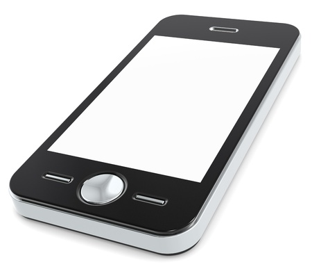 コピー領域の空白の画面を持つ携帯電話です。