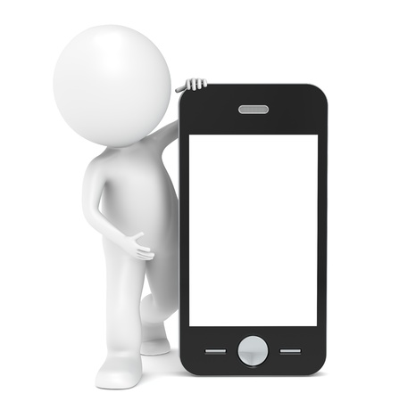 3D little human character with a Smart Phone. Blank Screen for Copy Space. People series. Stock Photo - 11263214