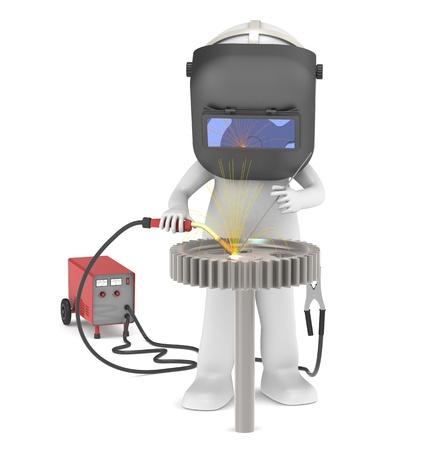soldador: 3D pequeño personaje humano del soldador. Soldadura de una rueda dentada. Las chispas iluminativa. La gente en serie.