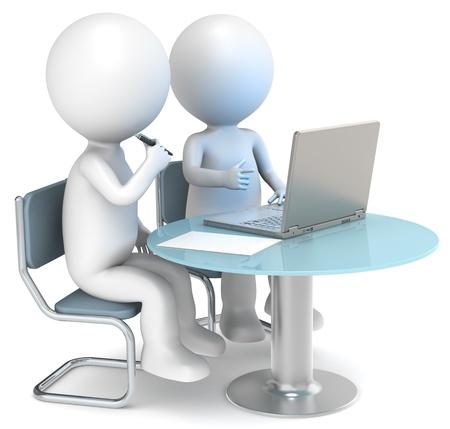dos personas conversando: 3D los personajes humanos peque�os X2 de trabajo. Gente de negocios de la serie. Foto de archivo
