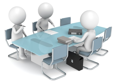 3d human: 3D little human characters X3 signing papers. Business People series.