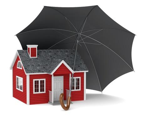 Une maison rouge est protégé par un parapluie