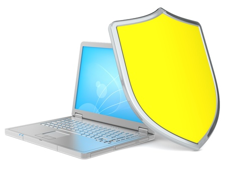 Laptop protected by a Shield. Yellow Stock Photo - 11527354