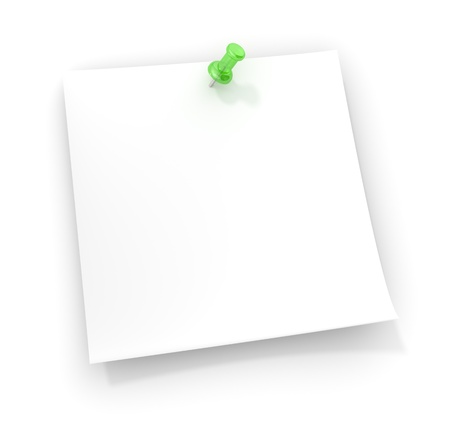 sticky notepaper: Sticky note with a green semi transparent plastic pushpin. Copy Space.