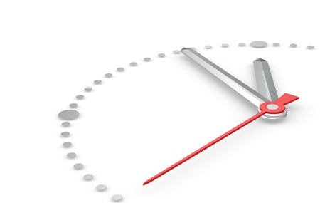 Perspectivisch aanzicht van een klok met de hand wijzen vijf tot twaalf. Staal Stockfoto