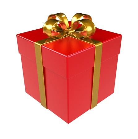 Red Gift Box. Gold ribbon, Isolated. photo