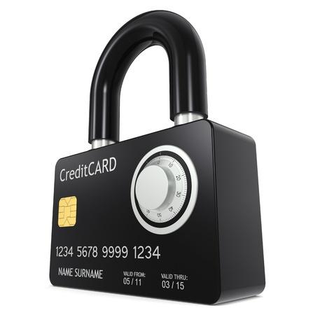 Tarjeta de crédito hecho como un candado, con cerradura de combinación