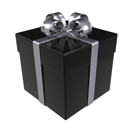 birthday present: Black Gift Box. Silver ribbons, Isolated. Stock Photo