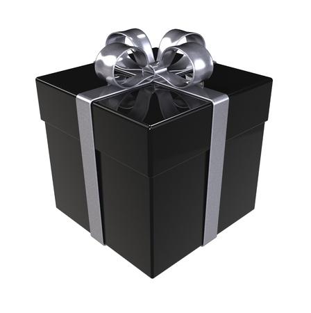 cajas de carton: Caja de regalo de terciopelo negro. Cintas de plata y aisladas.