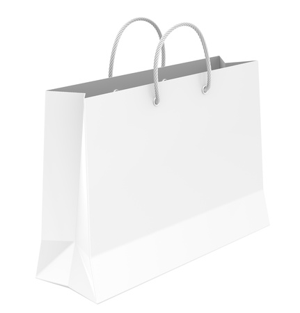 shoppingbag: White shopping bag Stock Photo