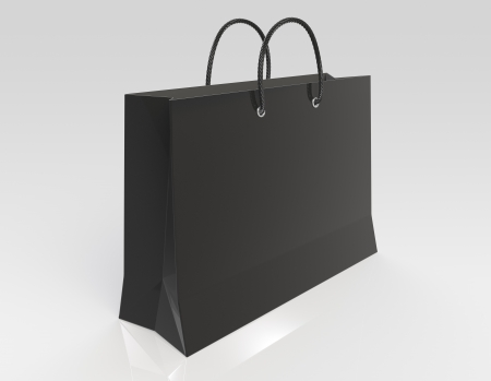 shoppingbag: Black Shopping bag. Reflective floor. Stock Photo