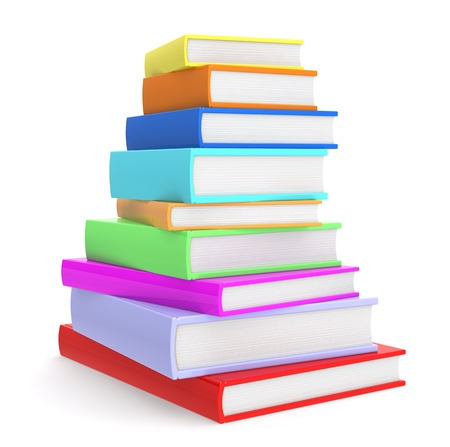 sachant lire et �crire: Pile de livres color�s. Banque d'images