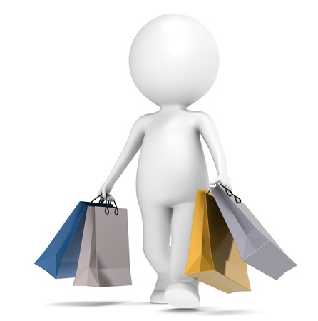 3D little human character Shopping. People series. Stock Photo - 11763648