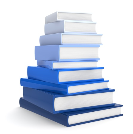 bibliography: Pile of Books. Blue Color Scale.