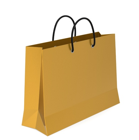 A Golden Shopping Bag. White Background. photo