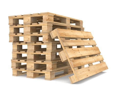 backgound: Pile of Pallets. White Backgound. CENEURO Standard. Part of Warehouse series. Stock Photo
