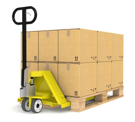 inventories: Pallet TruckJack and a Pallet With Cardboard Boxes. Part of Warehouse and logistics series.