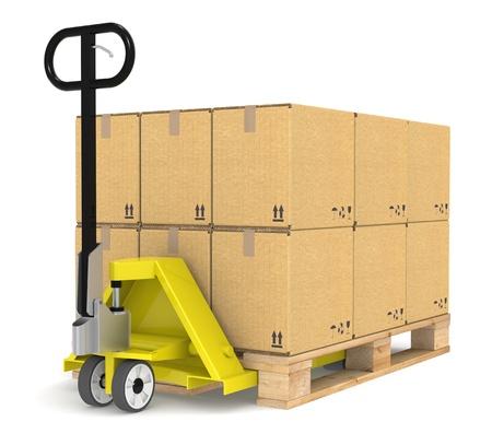 inventario: Transpaletas  Jack y un palet con cajas de cartón. Parte de la serie de almacenes y logística.