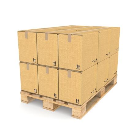 palet: Marrón textura Cajas de cartón sobre un palet. Parte de la serie de almacén.